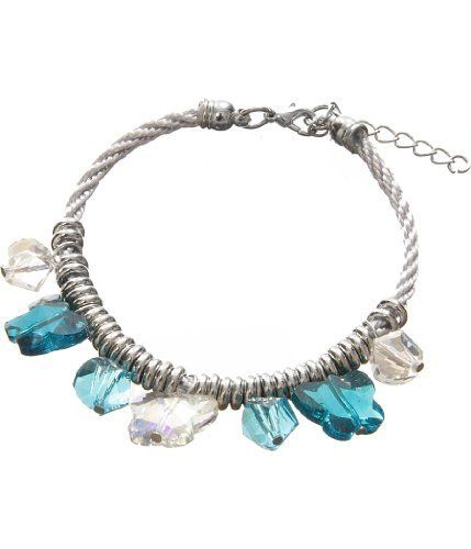 Turquoise Blue Beaded Butterfly Charm Bracelet Laurel and Sunset. $3.95