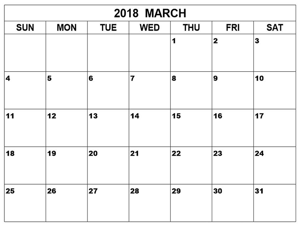 March 2018 Calendar Template 2018-2019 Latest Calendar Collections