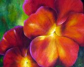 """Print of Original Oil Painting - """"Pansy"""" Flower - Large Hearts - Love - Romantic"""