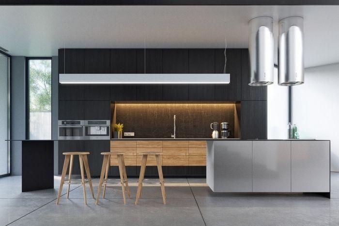 carrelage sol gris cuisine bois massif plafond blanc