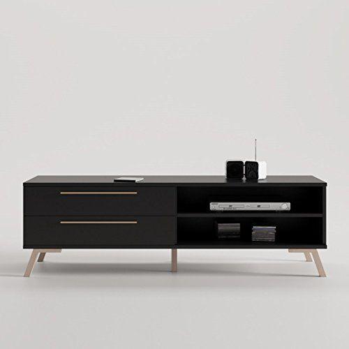 CajonesUnicos - Mueble tv trendy 2 cajones con pata vintage, color del mueble- negro, color de pata y tirador- aluminio, size- 160 cm - http://vivahogar.net/oferta/cajonesunicos-mueble-tv-trendy-2-cajones-con-pata-vintage-color-del-mueble-negro-color-de-pata-y-tirador-aluminio-size-160-cm/ -