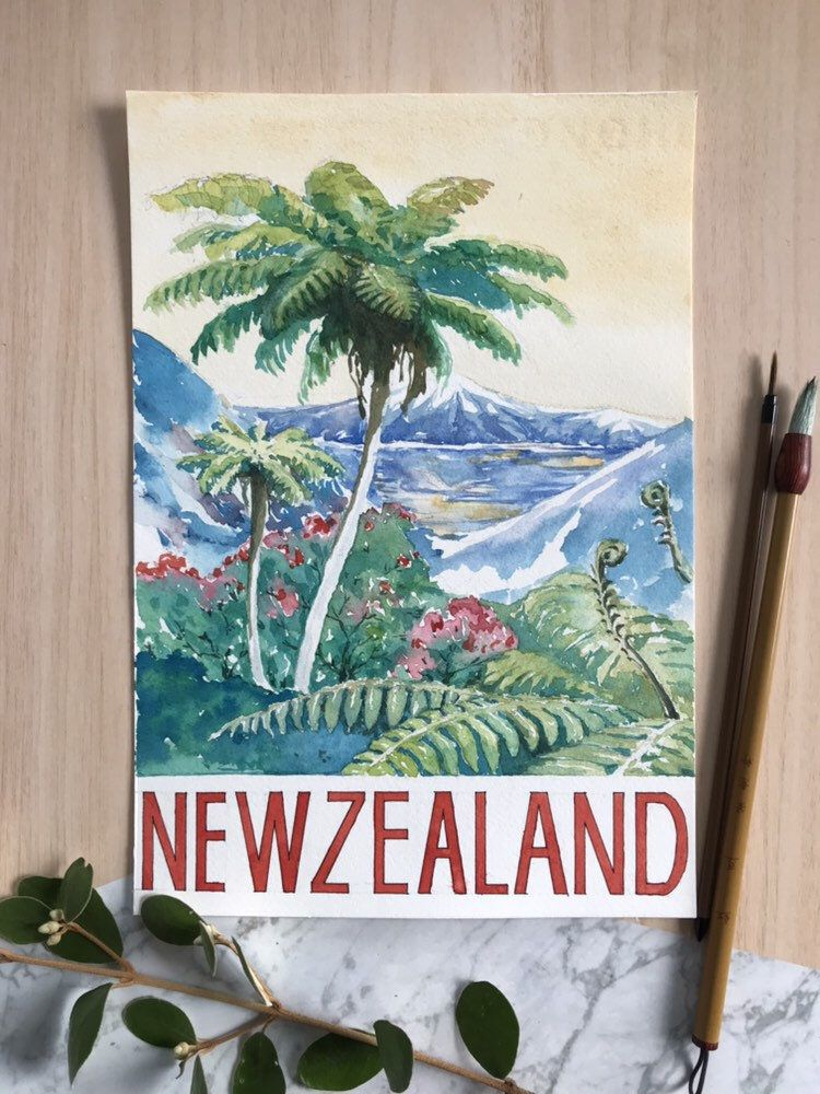 New Zealand Landscape Poster Painting Art New Zealand Landscape