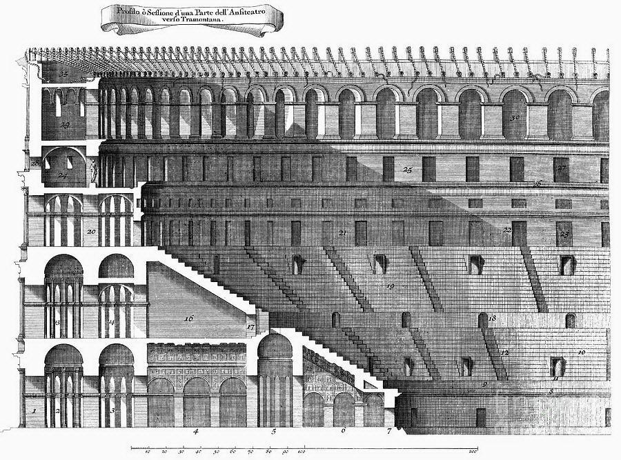 colosseum cross section Arquitectura romana, Dibujos de