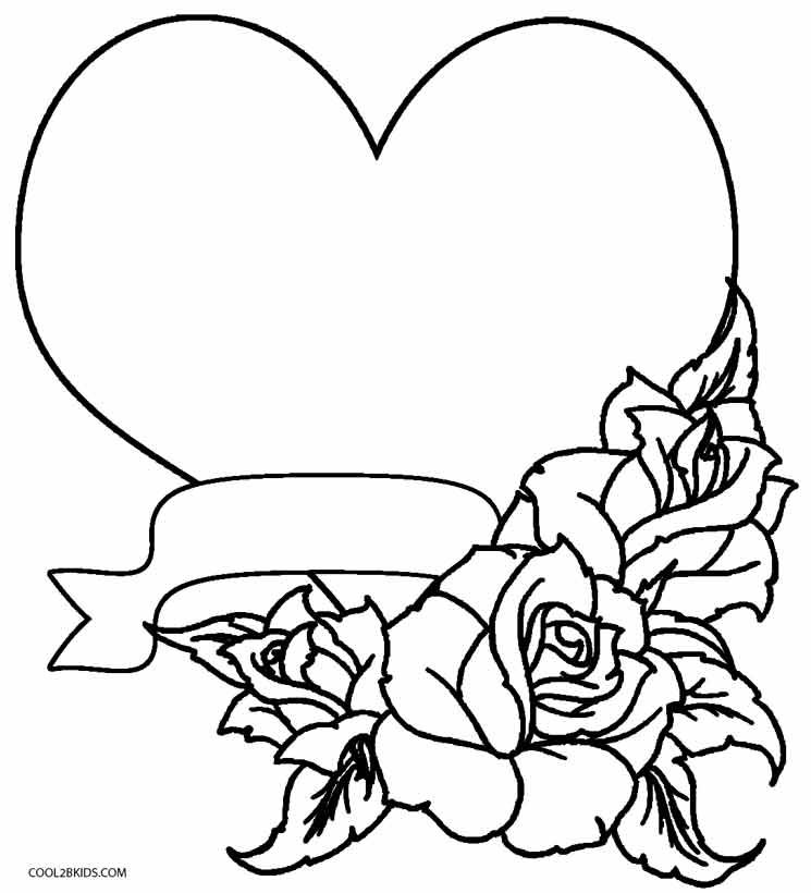 Printable Rose Coloring Pages For Kids Cool2bkids Skull Coloring Pages Heart Coloring Pages Love Coloring Pages