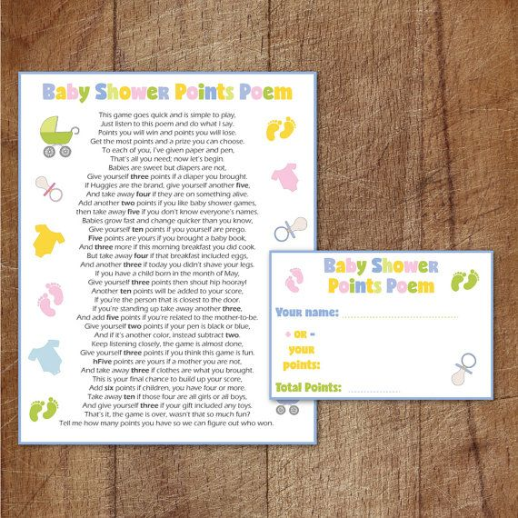 Baby Shower Points Poem Printable Game, Baby Shower Game, Neutral