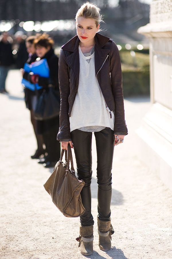 d38514c61199c Fashionable Shenanigans: Parisian Chic Street Style - leather jacket skinny  pants booties bag