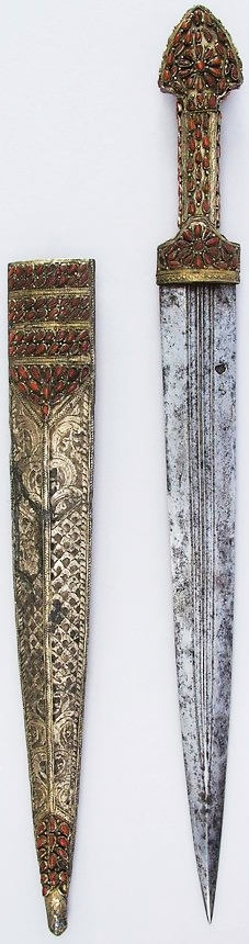 Transcaucasian (probably Georgia) qama, 18th to 19th century, steel, silver, coral, L. with sheath 22 7/8 in. (58.1 cm); L. without sheath 22 1/8 in. (56.2 cm); W. 2 1/16 in. (5.2 cm); Wt. 17.6 oz. (499 g); Wt. of sheath 8.1 oz. (229.6 g), Met Museum, Bequest of George C. Stone, 1935.