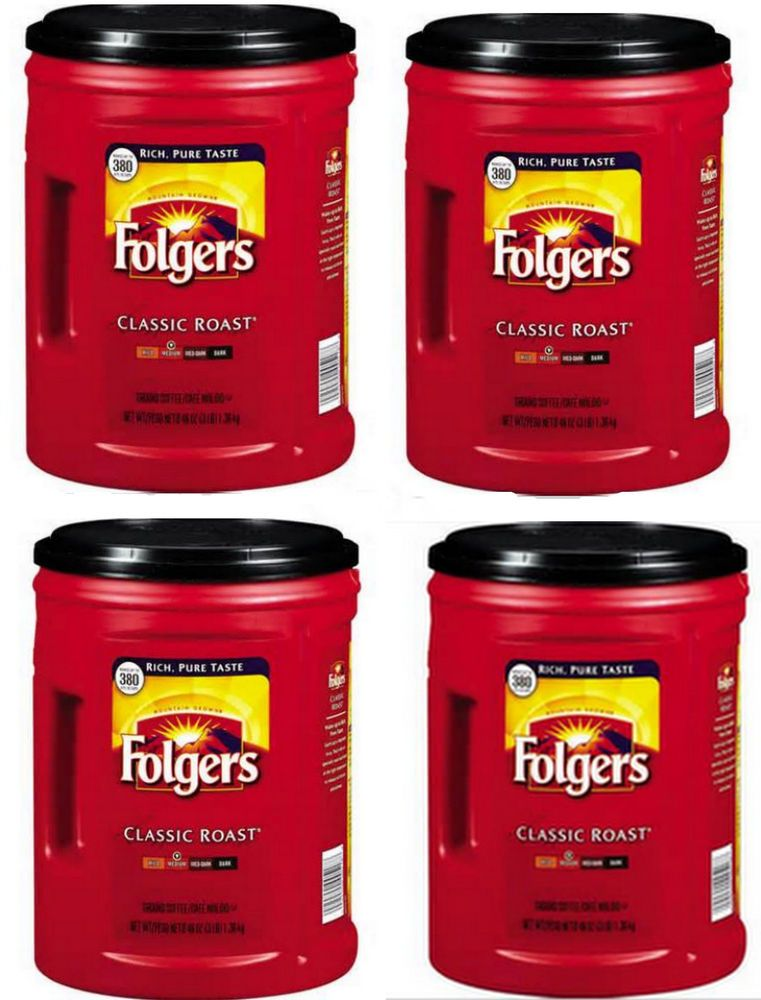 4 Empty Plastic 48 Oz Coffee Cans Lids Folgers Garage