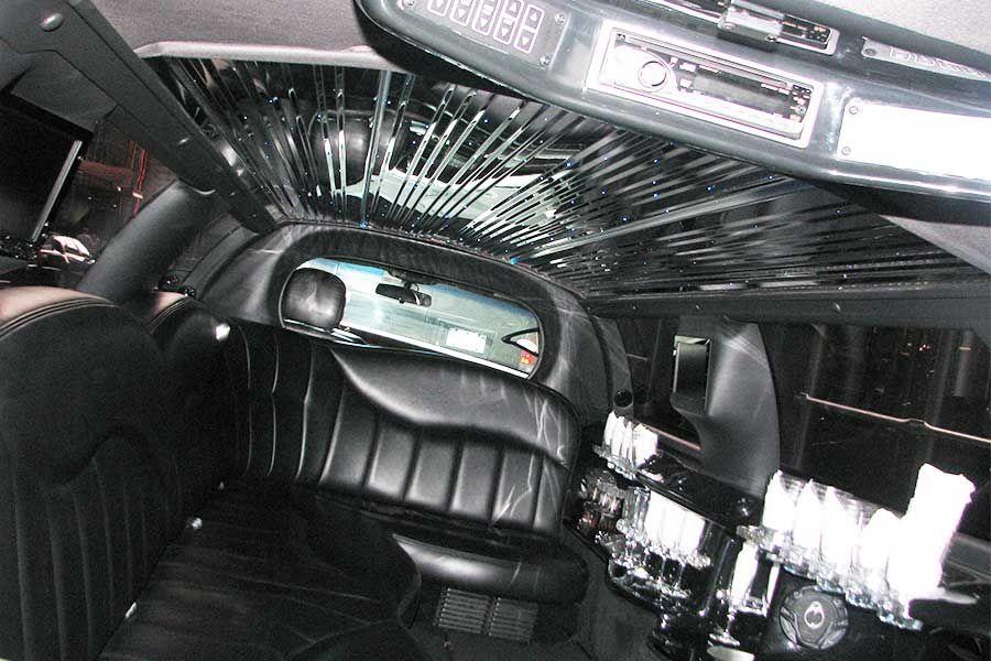 6 Pass Black Stretch Limousines Interior