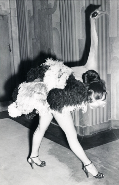 """1951 """"Ostrich"""" dancer in the Folies Bergere show at theLondon Hippodrome"""