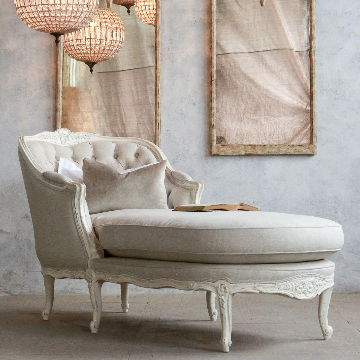 Eloquence Louis Tufted Antique White Chaise | Tufted ottomans ...