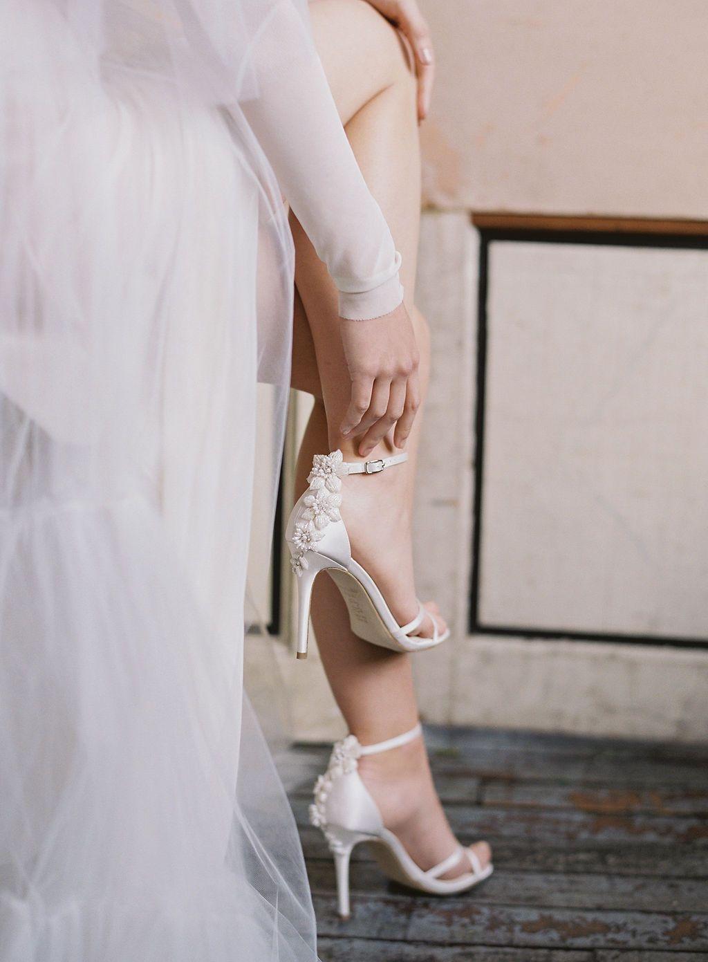 Gardenia 3d Floral Beading Pearls Ivory Wedding Heel Wedding