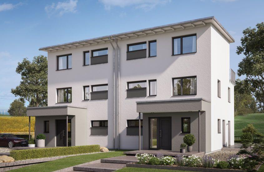 Großes Doppelhaus mit Pultdach, 3 Etagen, 5 Zimmer, 166 qm