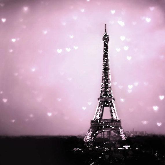 paris photography pink eiffel tower with hearts baby
