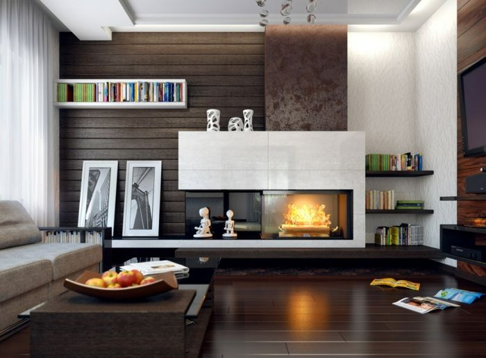 Tipps · zimmer einrichten wohnzimmer beleuchtung kamin dunkler boden