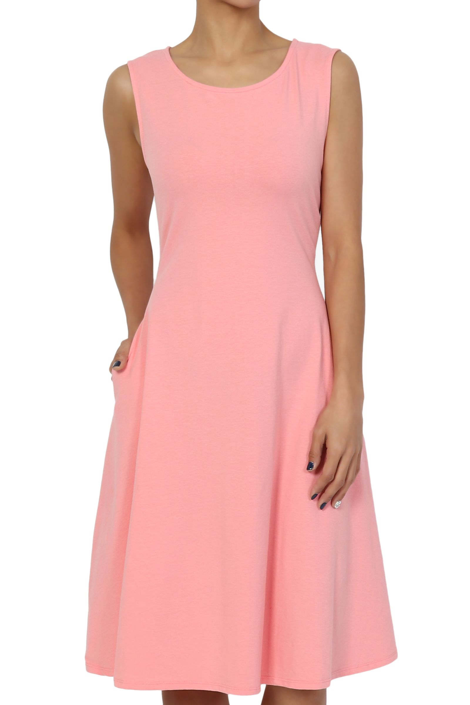 Themogan Themogan Women S S 3x Sleeveless Stretch Cotton Jersey Fit And Flare Dress W Pocket Walmart Com In 2021 Flare Dress Dresses Day To Night Dresses [ 2400 x 1600 Pixel ]