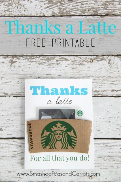 Free Printable Thanks A Latte Coffee Gift Card teAchEr GiftS