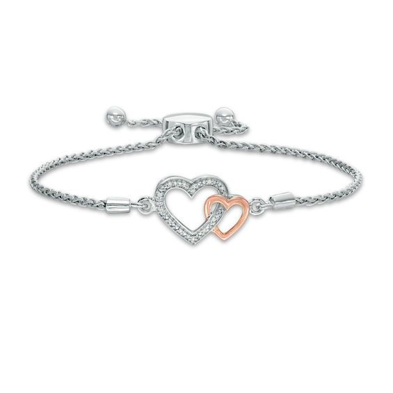 Diamond Accent Interlocking Hearts Bolo Bracelet In Sterling Silver And 10k Rose Gold 9 5 Silver Sterling Silver Bracelets Rose Gold