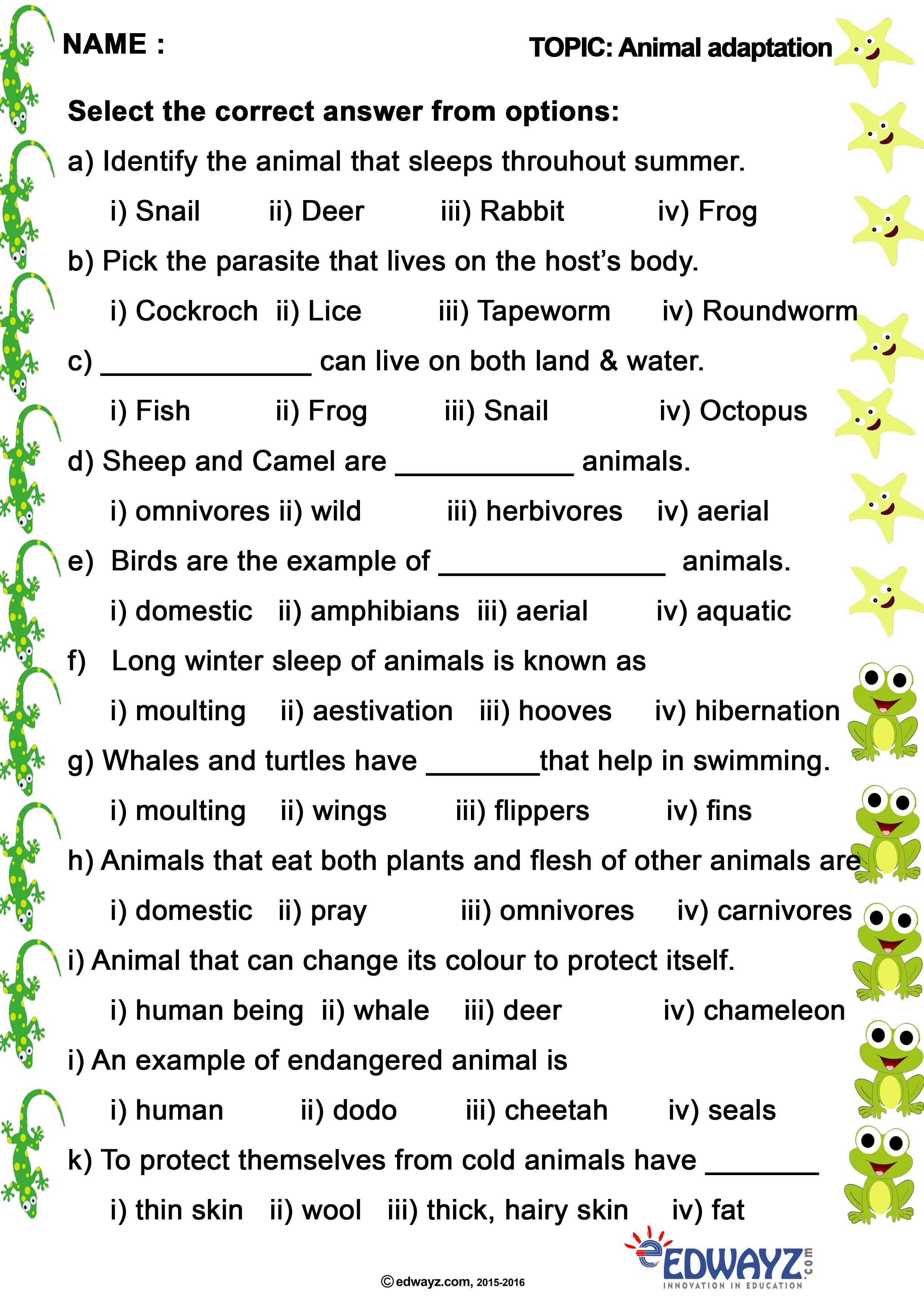 edwayz #animals #freeworksheets #EVS #Class 4 # Grade 4 #AnimalHabitat    Science worksheets [ 3508 x 2480 Pixel ]