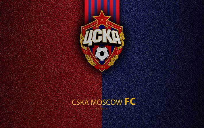 Hämta bilder CSKA Moskva FC, 4k, logotyp, Ryska fotbollsklubb, CSKA, läder konsistens, Ryska Premier League, fotboll, Moskva, Ryssland