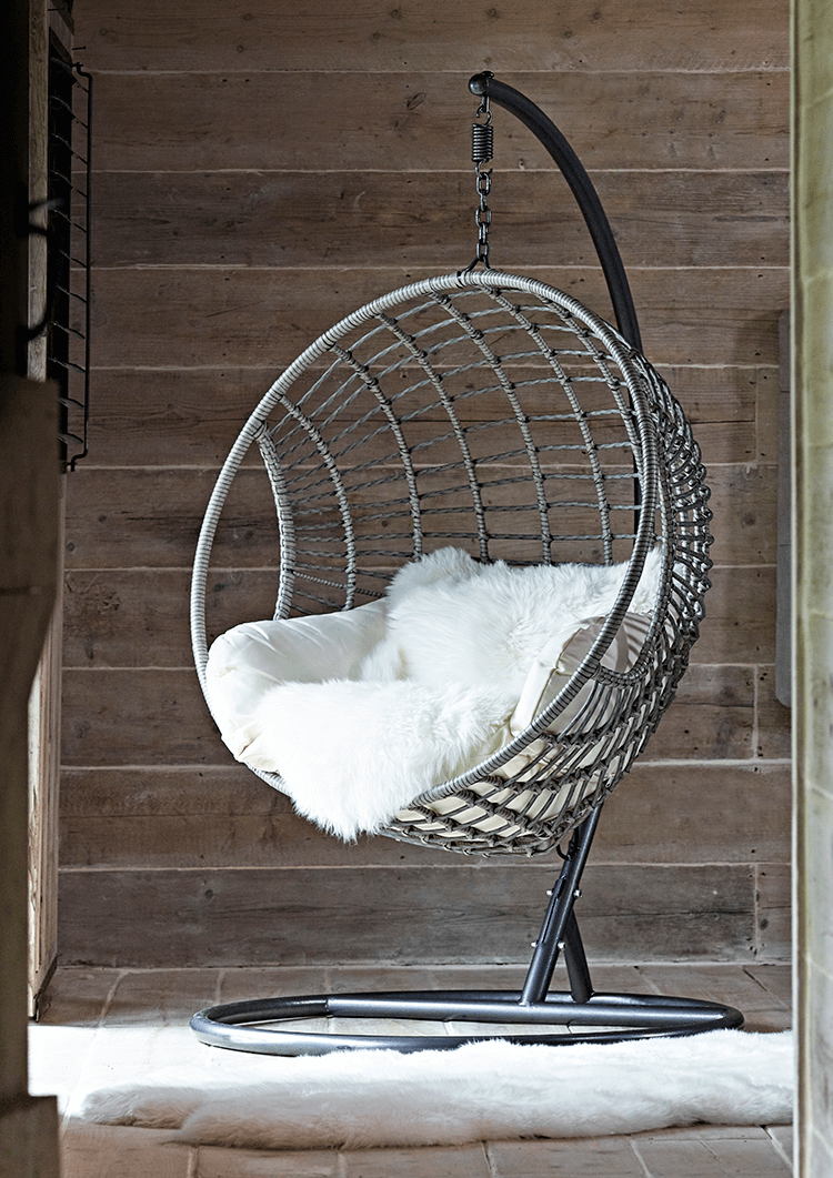 indoor outdoor hanging chair lovely things for house. Black Bedroom Furniture Sets. Home Design Ideas