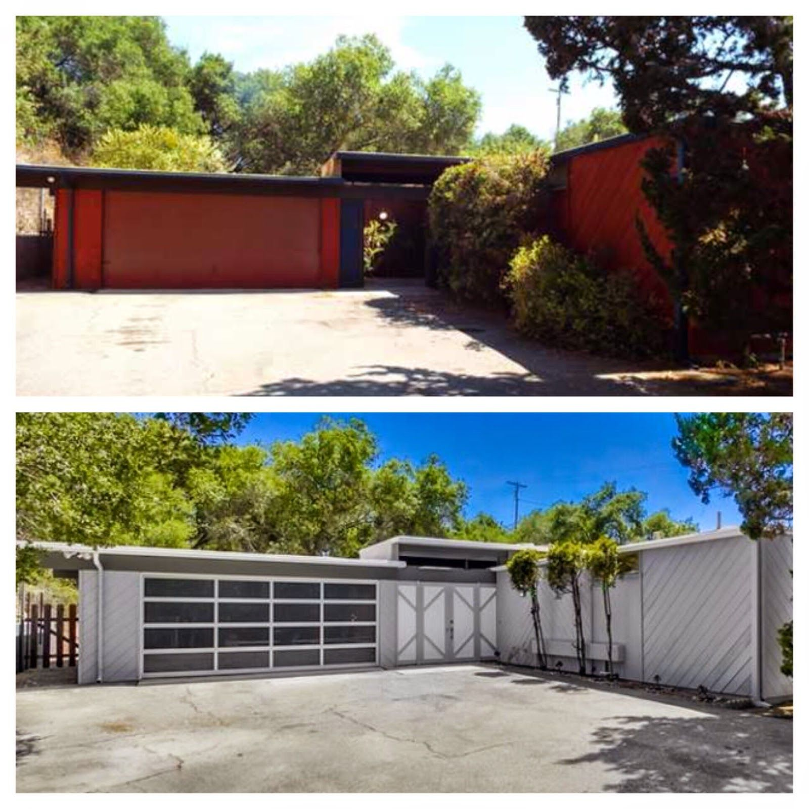 Mid Century Modern Home Remodel Before After New Aluminum And Glass Garage Door Mid Century Modern House Mid Century Exterior Mid Century Modern Exterior