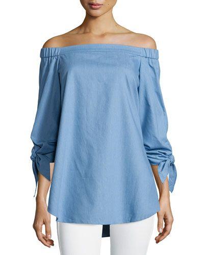583086426c9b07 TIBI Tibi Tie-Sleeve Chambray Off-The-Shoulder Tunic, Brilliant Denim.  #tibi #cloth #