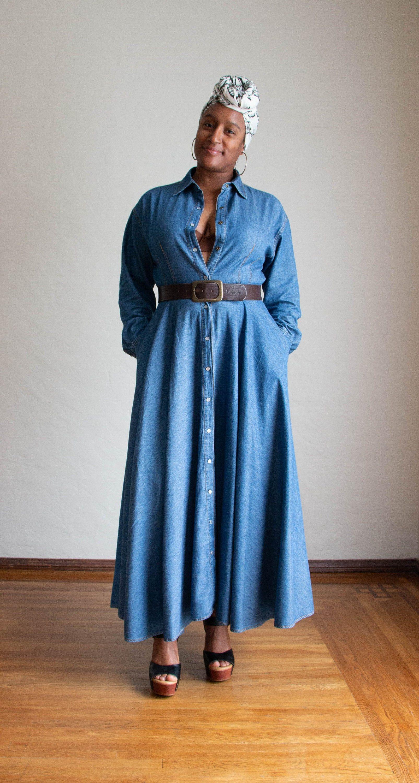 80s 90s dkny fit flare denim maxi dress long sleeve