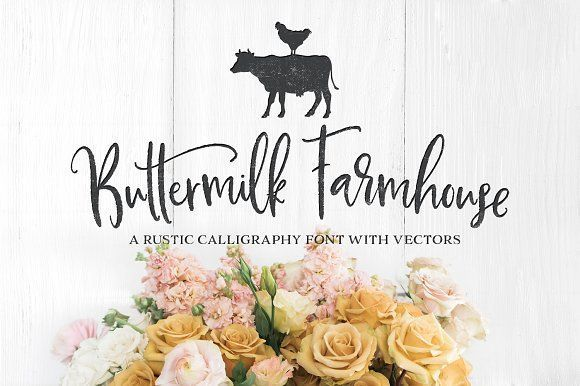 NEW! Buttermilk Farmhouse Typeface by Callie Hegstrom on @creativemarket