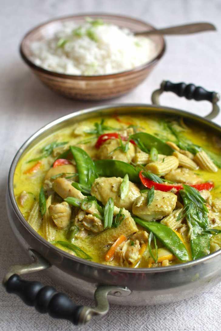 Pollo Thai Con Coco Jengibre Y Vegetales Preparado A Cocción Lenta Comida Tailandesa Recetas Pollo Thai Recetas Asiáticas