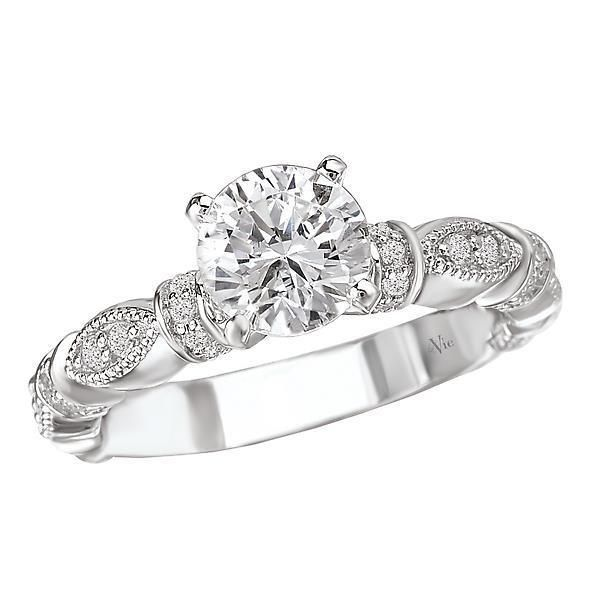 New Ladies 14k White Gold Round Diamond Semi Mount Engagement Ring Classic Engagement Rings Classic Style Engagement Rings Engagement Rings