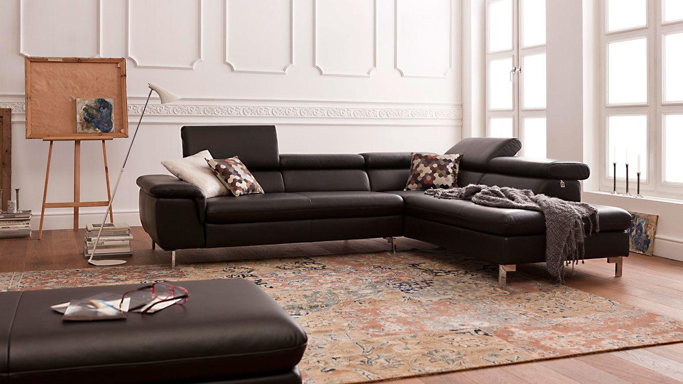 w schillig ecksofa mit schwarzem lederbezug und chromfarbenen metallf en verleiht ihrem zuhause. Black Bedroom Furniture Sets. Home Design Ideas