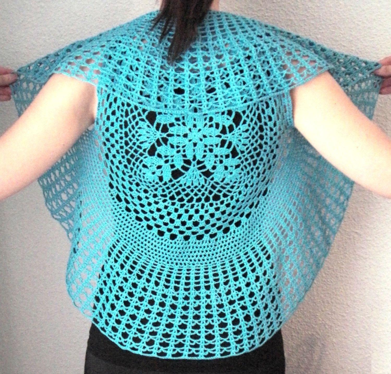 Circular Crochet Vest for Women - Turquoise - Handmade | GANCHILLO ...
