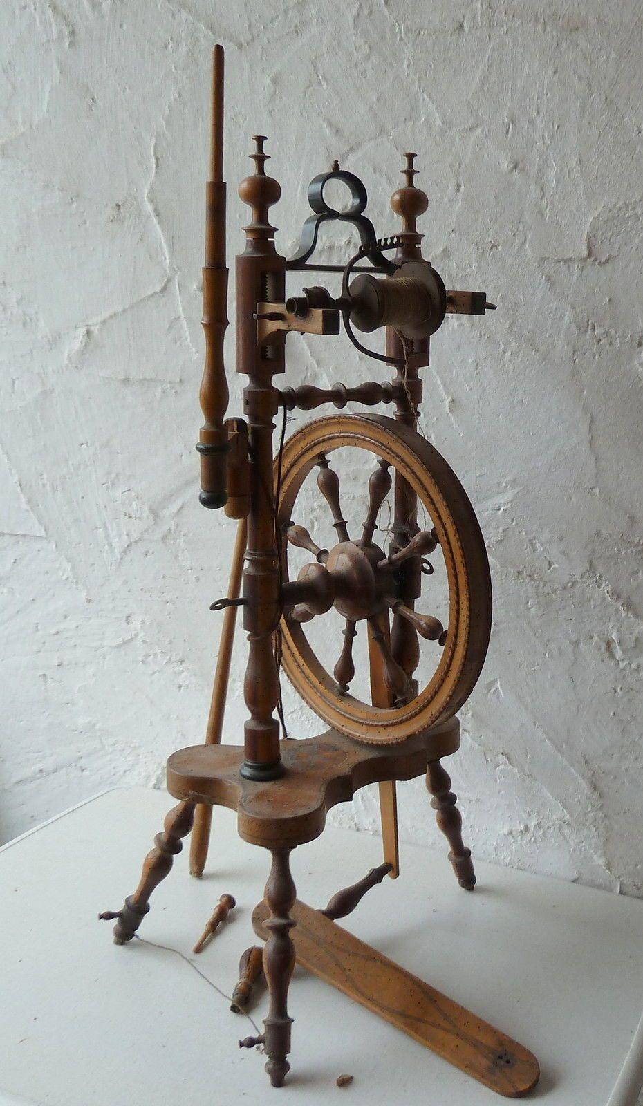 Antikes Spinnrad Antique Spinning Wheel Spinning Wheel Spinning Yarn Hand Spinning