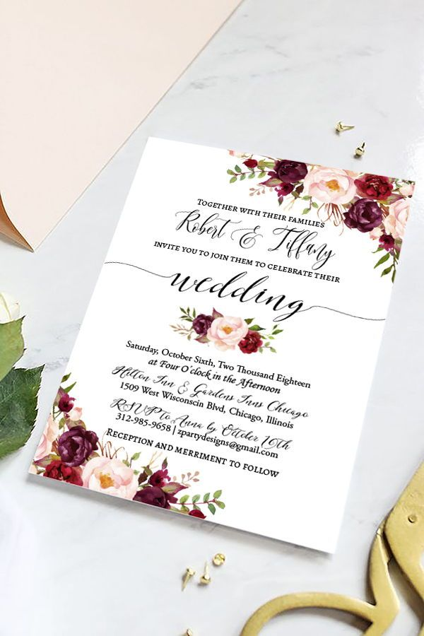 Rustic Marsala and Blush Floral Wedding Invitation Set, Burgundy ...
