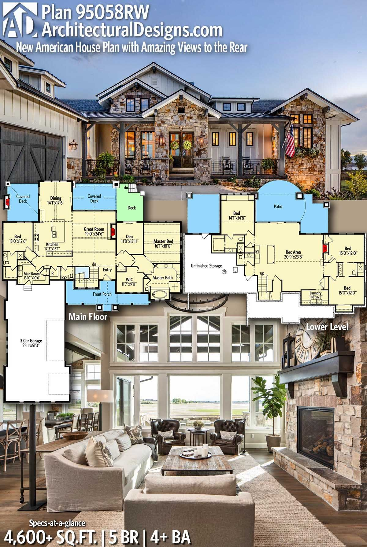 Plan 95058RW: New American House Plan with Amazing Views ...