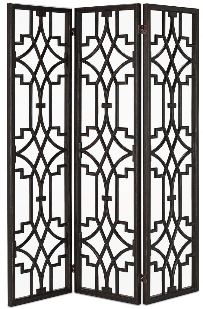 USE CODE CURREY10 FOR 10% OFF YOUR CURREY AND COMPANY PURCHASE.  You will love the dark mahogany wood that is sculpted into an ornate design for a fascinating folding screen. The Nador Folding Screen is an exceptionally detailed room divider that brings a bold pattern to the surroundings for bedrooms, living rooms and dens.