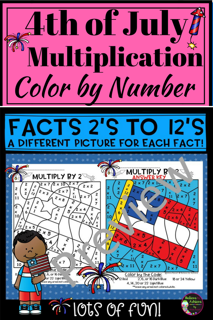 Fourth of July Color by Number Multiplication- 2\'s to 12\'s | TPT ...