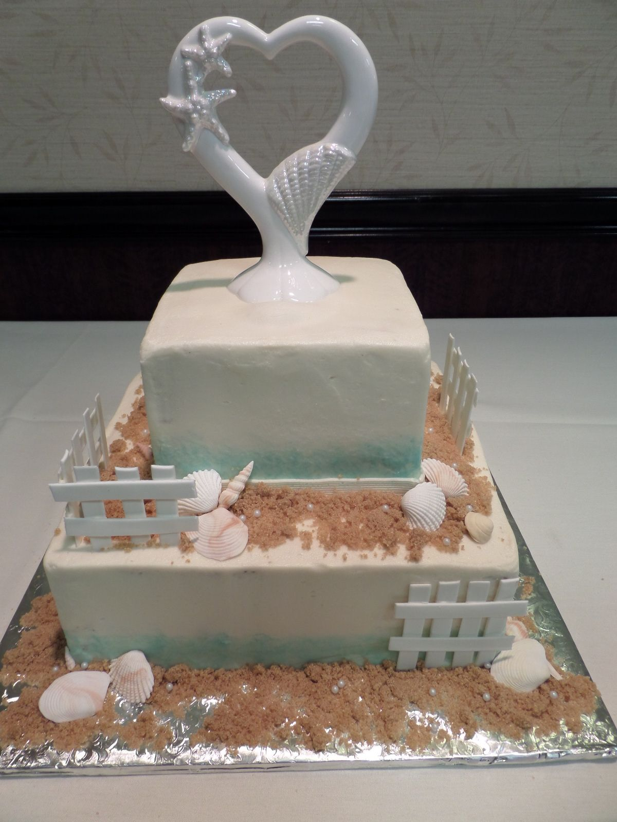 Beach Wedding Cake With Edible Shells, Etc. Wedding Cake By Confectionate  Cakes, Raleigh