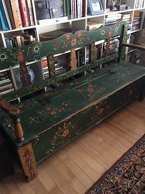 Antique Norwegian Scandinavia Bench W Storage Awesome Painting