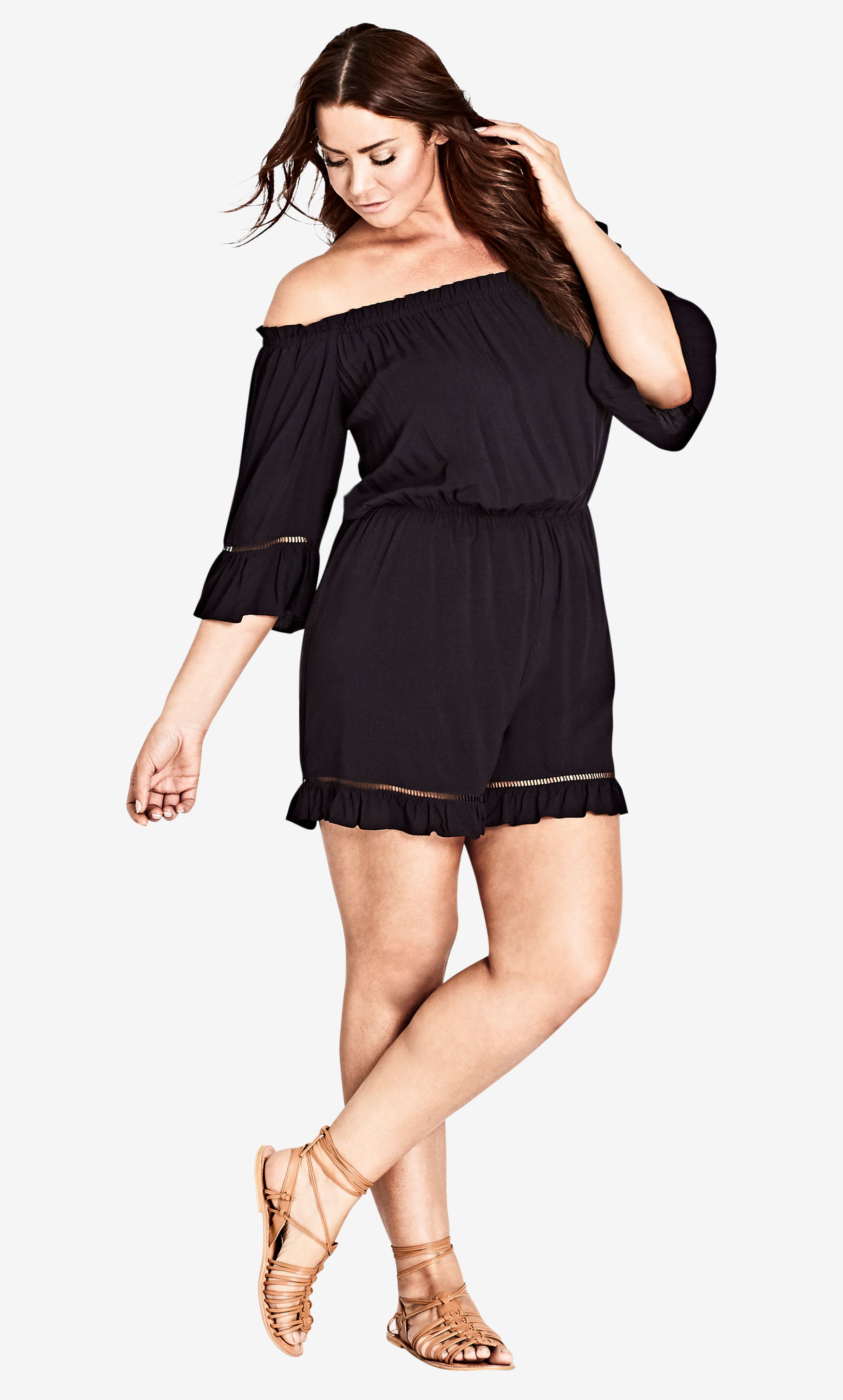 new products for strong packing reasonable price Black Off Shoulder Playsuit | A Curvy Girls Guide To Style