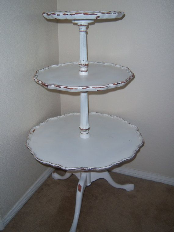 Antique 3 Tier Table Sabby Chic Three Tier Table By Makemeshabby Antique Table Redo Furniture French Chic Decor