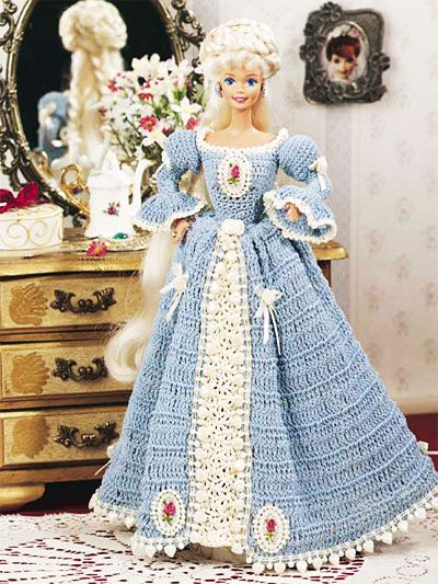 Free Crochet Pattern Of The Day Long Fashion Doll Dress Pattern