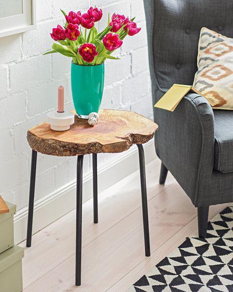 Beistelltisch Aus Baumscheibe Baumscheiben Tisch Holztisch Klein Diy Holztisch