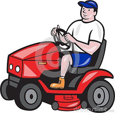 Gardener Mowing Rideon Lawn Mower Cartoon Lawn Mower Riding Lawn Mowers Cartoon Styles