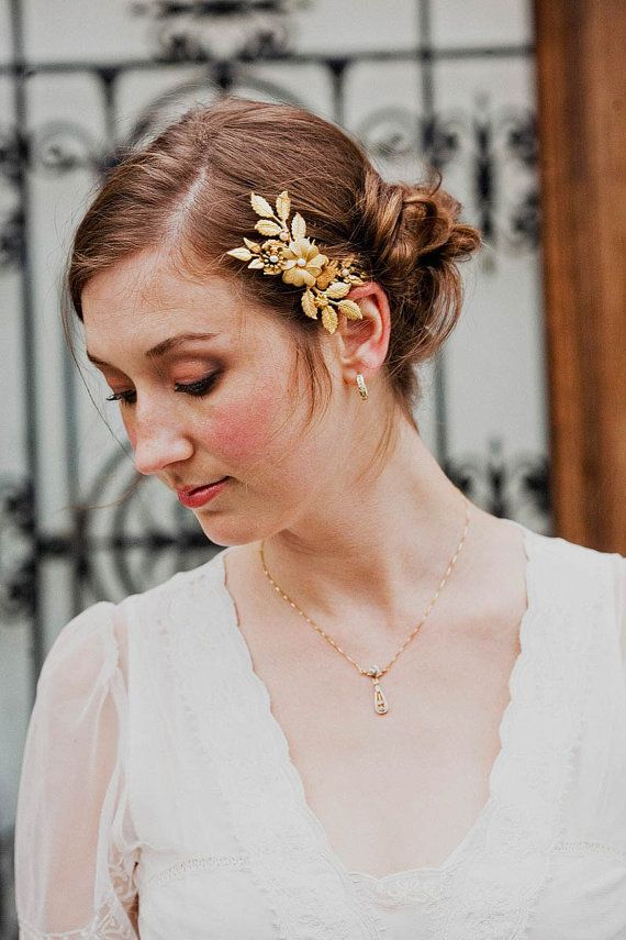 Brass flowers and leaves comb with freshwater pearls from Mignonne Handmade