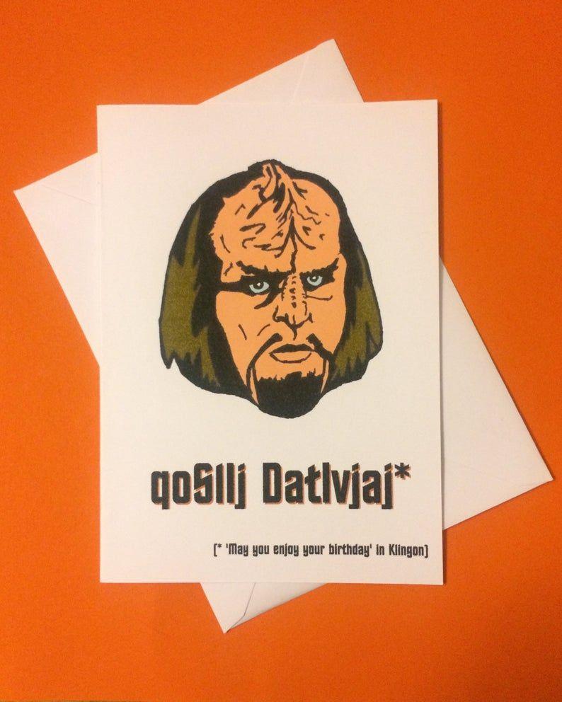 Worf Klingon Qamusha Star Trek Funny Geeky Tv Film Reference Birthday Mother S Day Valentine S Or Anniversary 5x7 Inch Greetings Card Star Trek Funny Star Trek Birthday Klingon