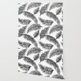 Black & White Palm Leaves Wallpaper Black, white