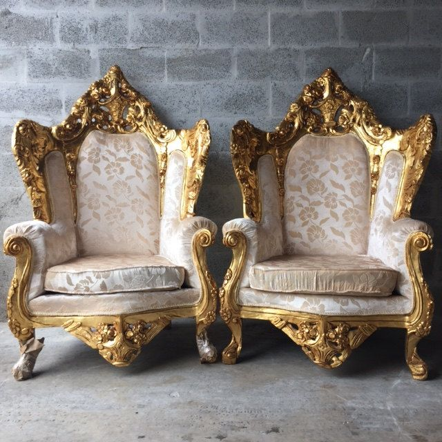 antique italian rococo chairs fauteuil bergere throne king chair gold gild leaf white champagne. Black Bedroom Furniture Sets. Home Design Ideas