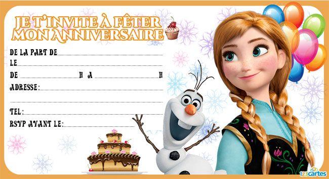 Souvent Invitation Anna et Olaf | Carte anniversaire à imprimer  VA43